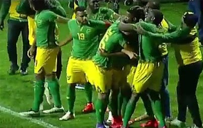 Reggae Boyz celebrates Joel Grant's goal in their 2-1 win over Chile