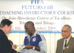 Lenny Taylor receiving his FIFA certification